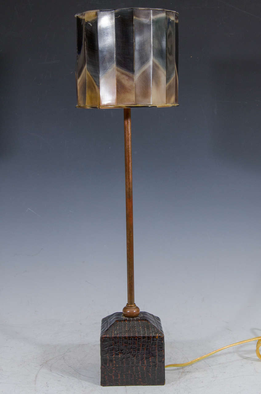 tortoise lighting. A Contemporary Table Lamp With Metal Stem, Faux Crocodile Base, And Tortoise- Tortoise Lighting E