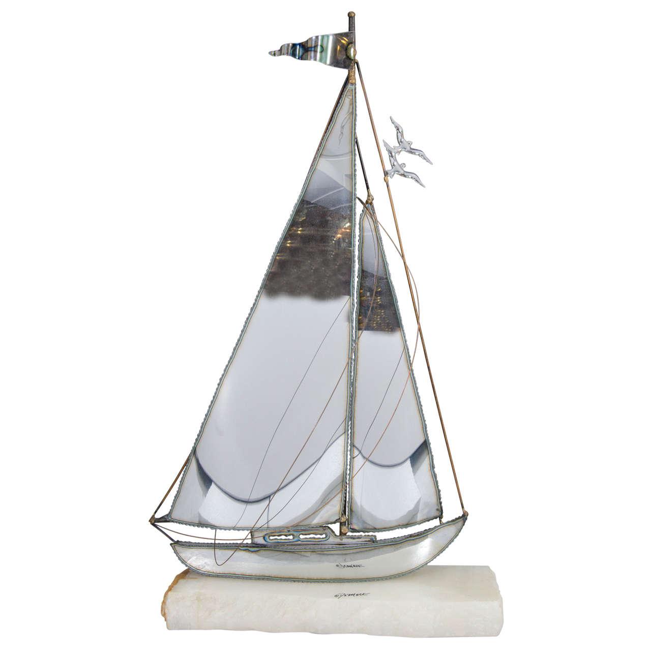 Midcentury Sailboat Sculpture by DeMott
