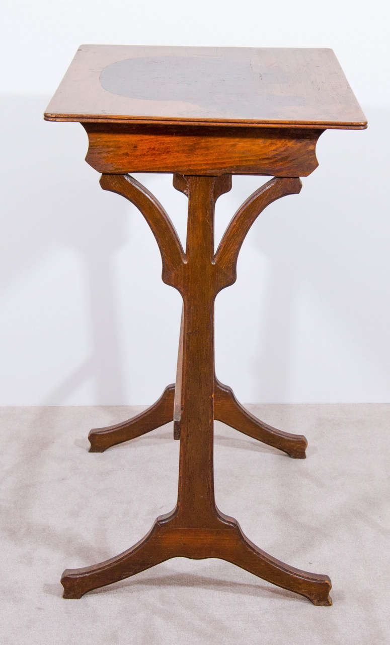 Art nouveau set of four carved wood nesting tables by