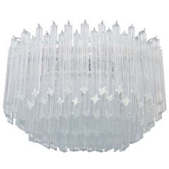 Midcentury Multi-Tiered Venini Glass Chandelier