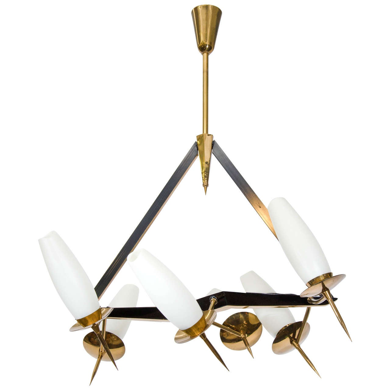 Midcentury French Chandelier with Adjustable Arms