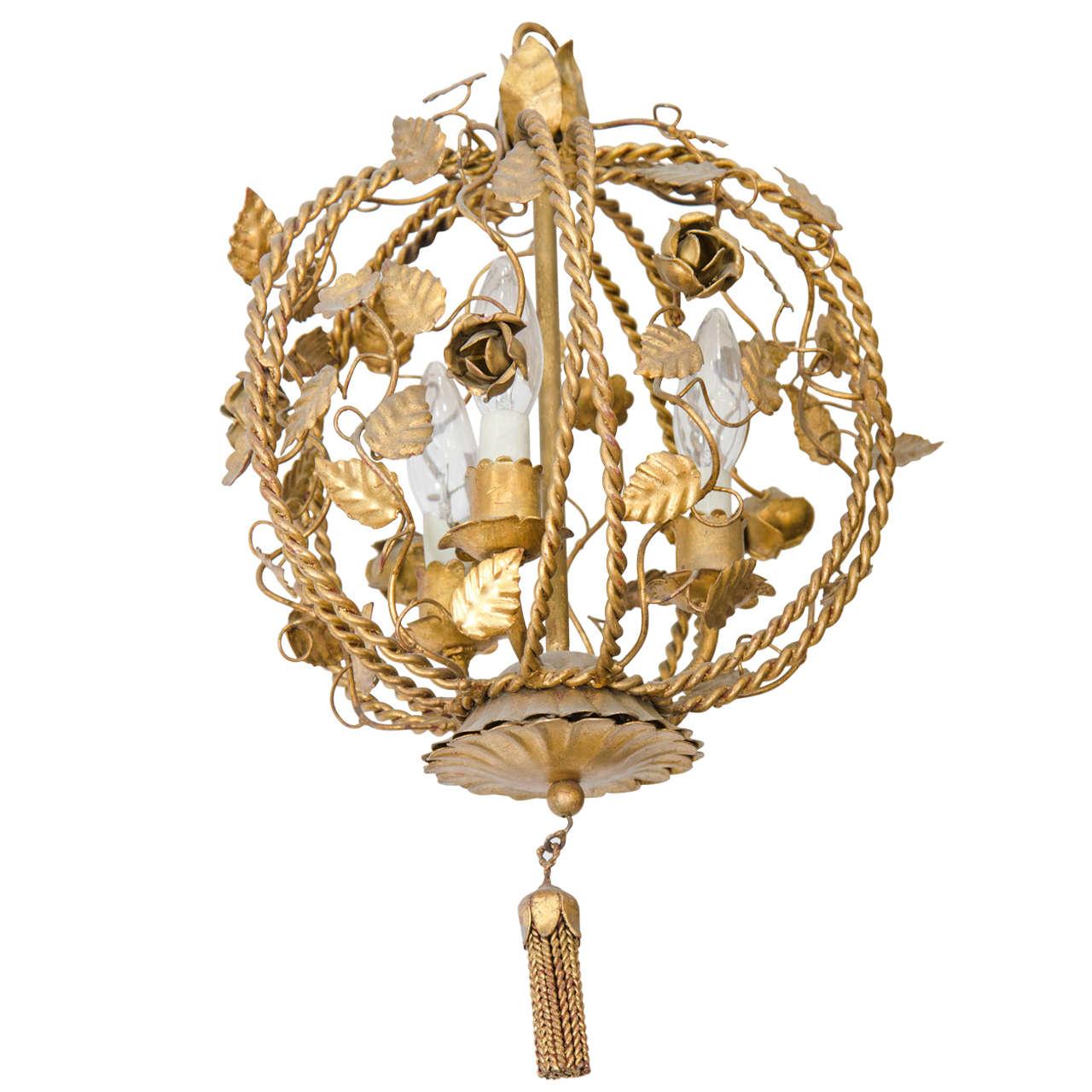 Vintage brass petite flower and leaf motif chandelier for sale at vintage brass petite flower and leaf motif chandelier 1 arubaitofo Images