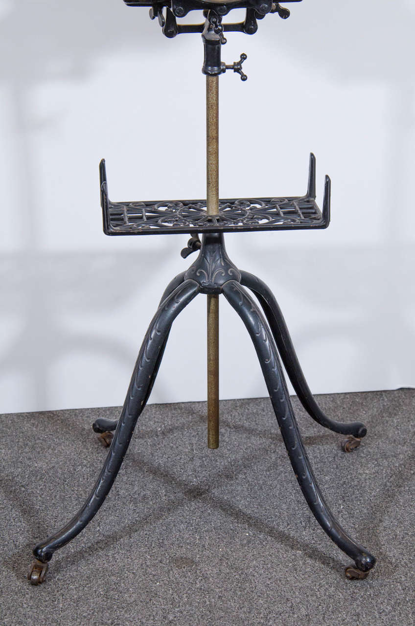 Antique Oak And Iron Dictionary Stand With Adjustable