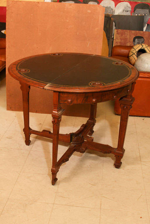 Walnut demi lune game table for sale at 1stdibs - Table demi lune murale ...