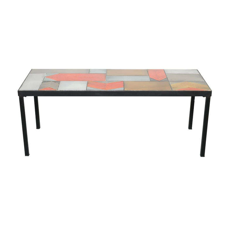Roger Capron Coffee Table With Lava Tiles At 1stdibs