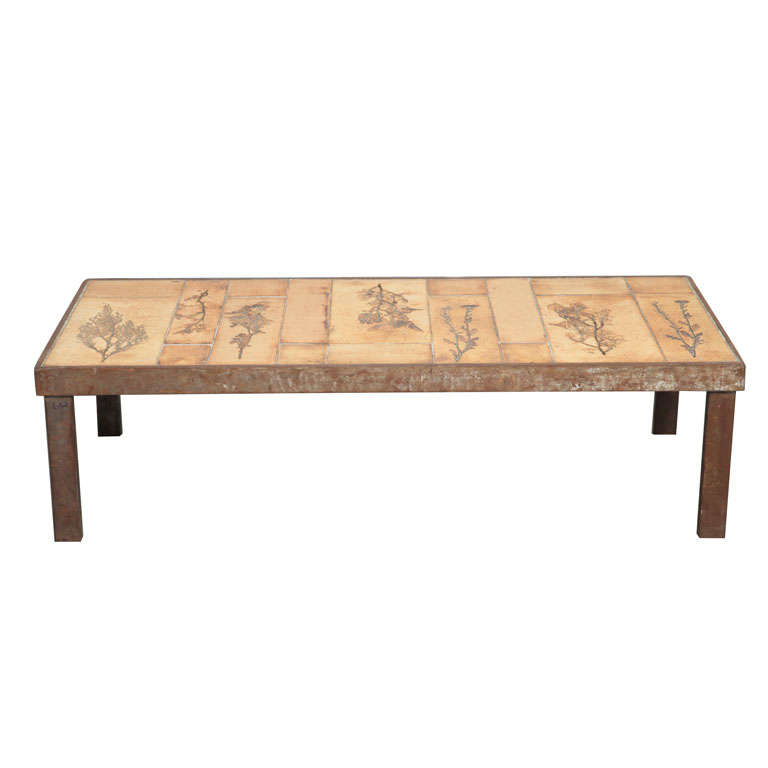 """Coffee Table by Roger Capron with """"Garrigue"""" Tiles"""