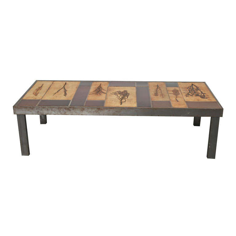 """Rectangular """"Garrigue"""" Coffee Table by Roger Capron"""