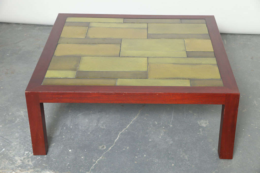 Sturdy Coffee Table With Lava Tiles By Roger Capron At 1stdibs