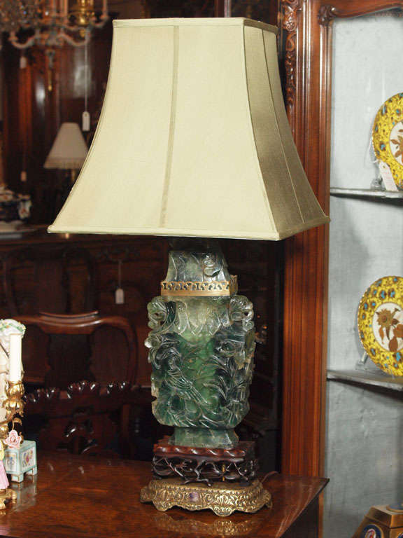 Amazing Antique Chines Hand Carved Jade Quartz Lamp With Teak And Bronze Base.