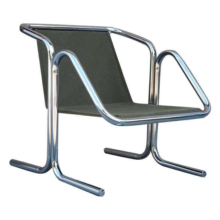 Vintage Jerry Johnson Chrome Sling Chair 1