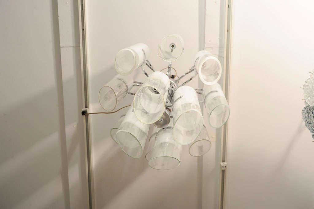 White Murano Glass Tubular Chandelier 5