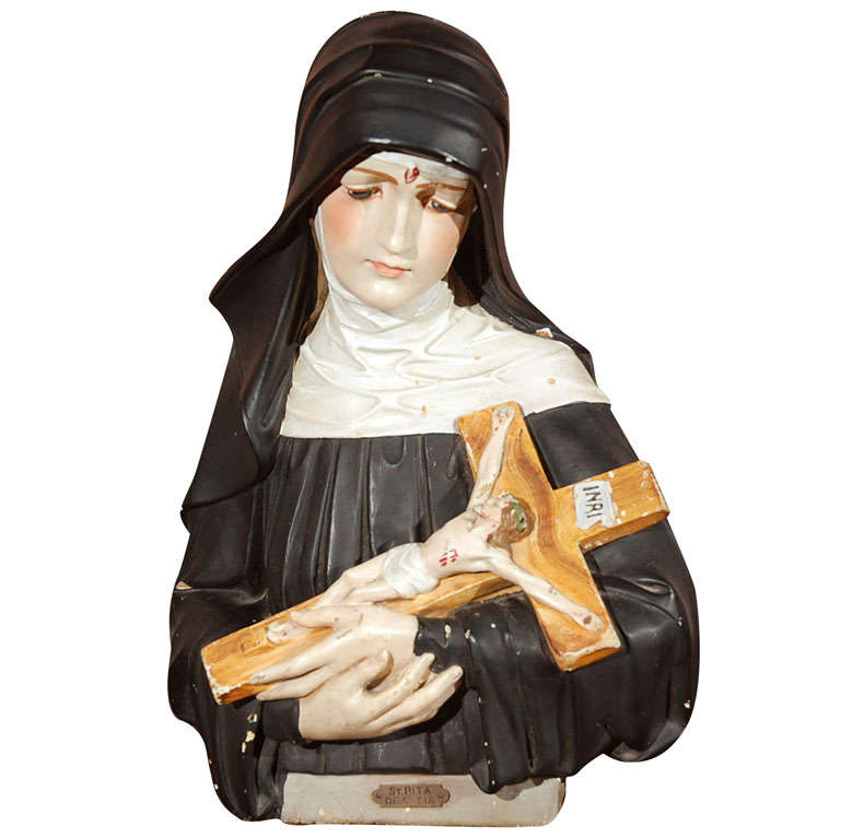 St Rita Of Casia Chalkware Bust At 1stdibs