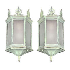 Pair of Early 20th Century Bronze Hanging Lanterns, Reproduction