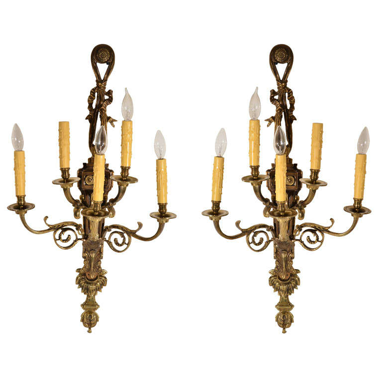 Bronze, Pair, Five light wall sconce, Rococo Style, circa 1920s, at 1stdibs