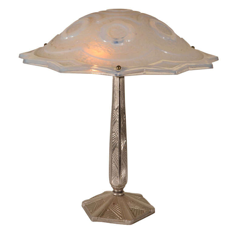 Art deco table lamp with lalique style shade for sale at 1stdibs art deco table lamp with lalique style shade for sale aloadofball Image collections