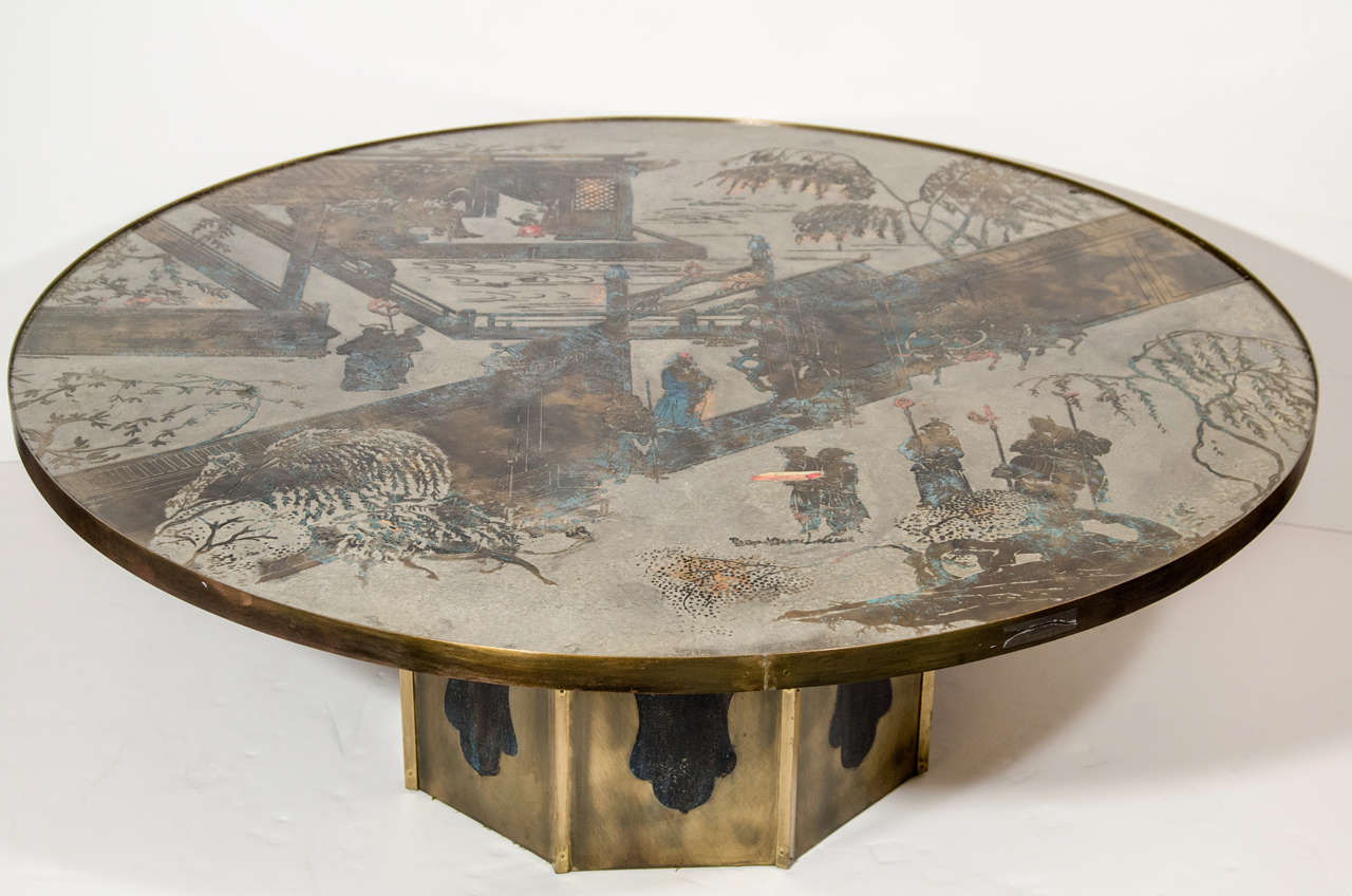 A fine chinoiserie Philip and Kelvin Laverne etched bronze and hand enameled circular coffee table depicting Chinese figural scenes on an octagonal base.