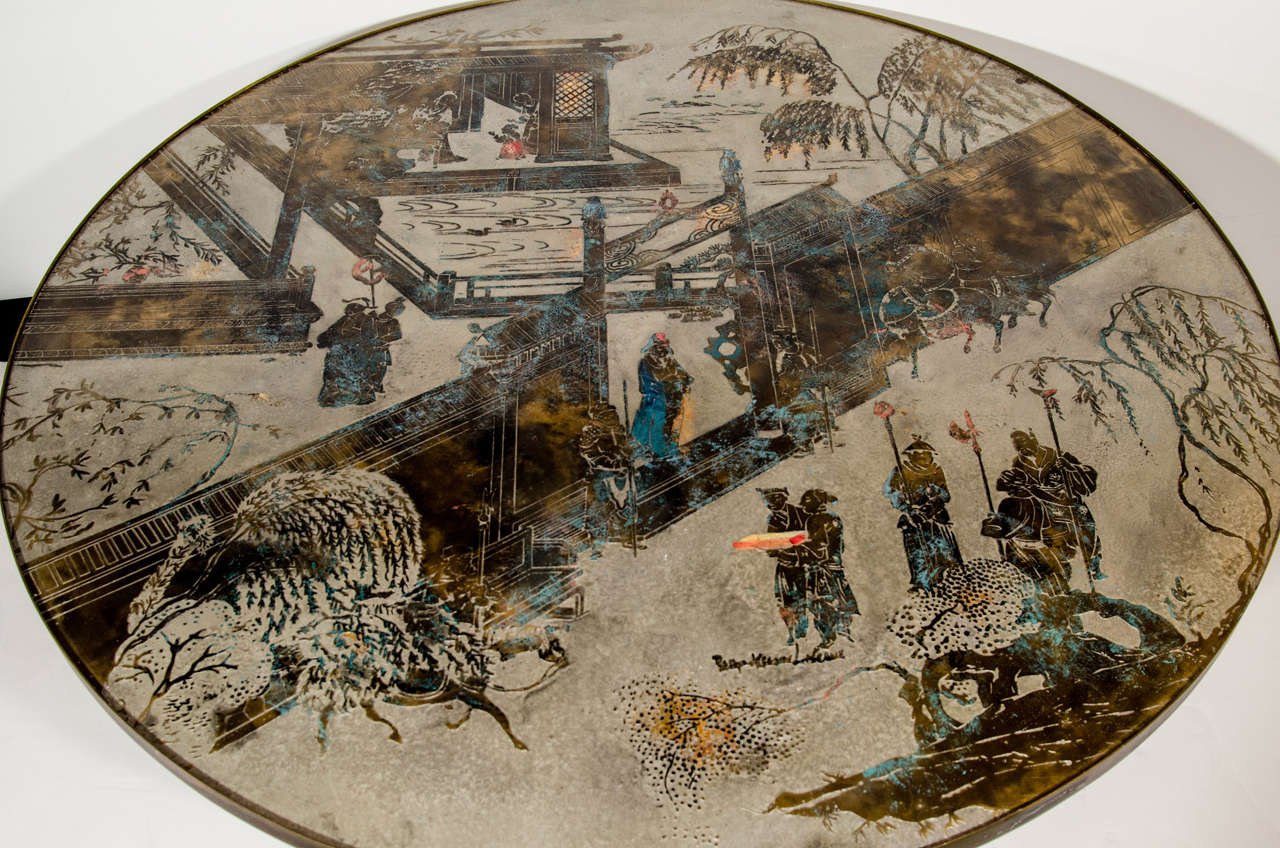 American Fine Chinoiserie Philip and Kelvin Laverne Ethed Bronze Circular Coffee Table For Sale