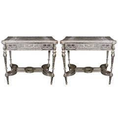 Pair of Unique French Louis XVI Style Silvered Bronze Mirrored Tables