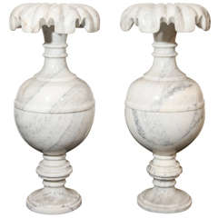 Pair of Large Neoclassical Style White Marble Vases