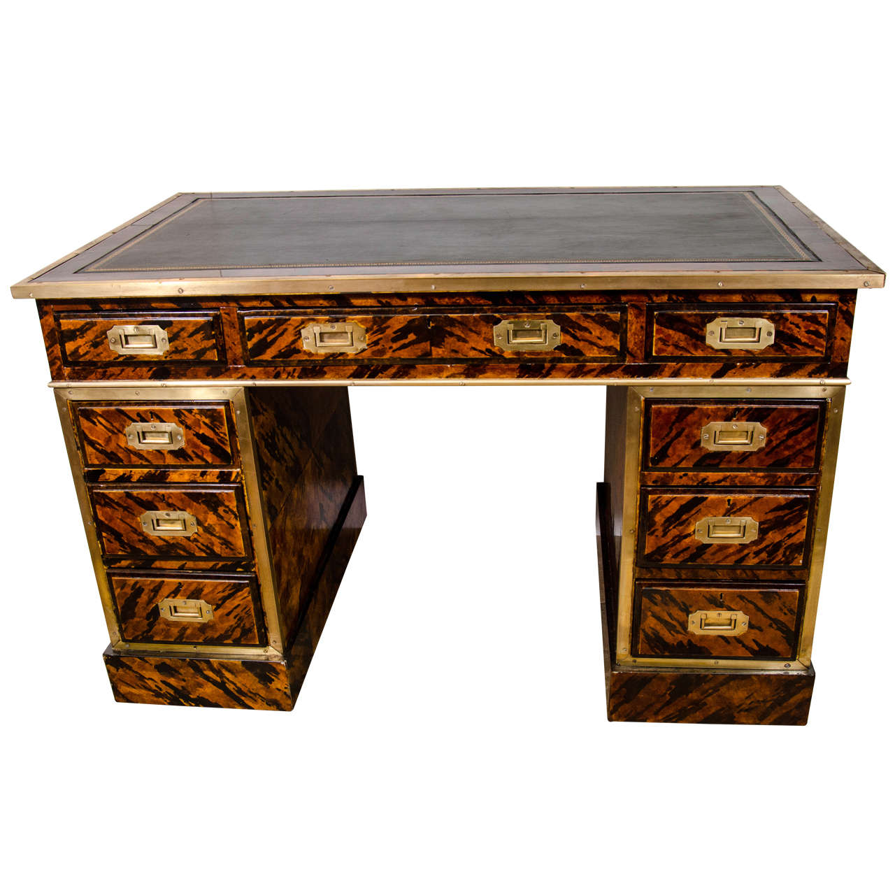 Unusual campaign tortoise shell painted desk at 1stdibs for Unusual writing desks