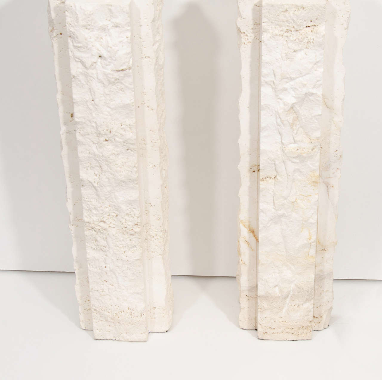 Mid-Century Modern Pair of Limestone Lamps For Sale