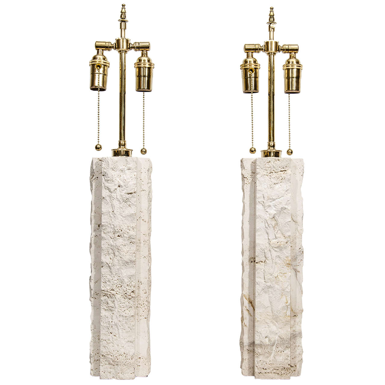 Pair of Limestone Lamps For Sale