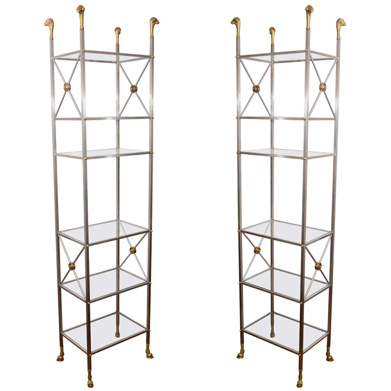 pair of brushed nickel and brass etageres at 1stdibs. Black Bedroom Furniture Sets. Home Design Ideas