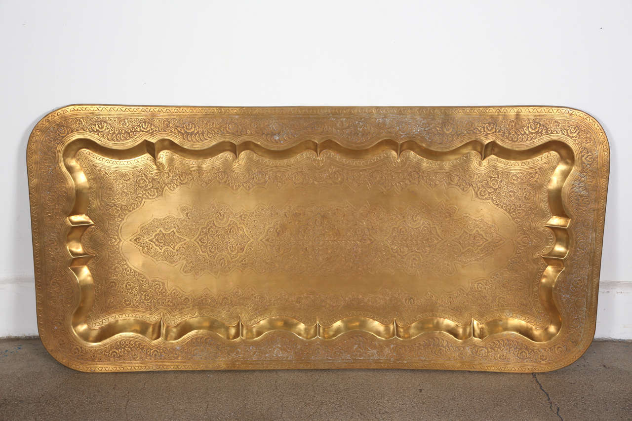 Mid Century Rectangular Brass Tray Coffee Table At 1stdibs