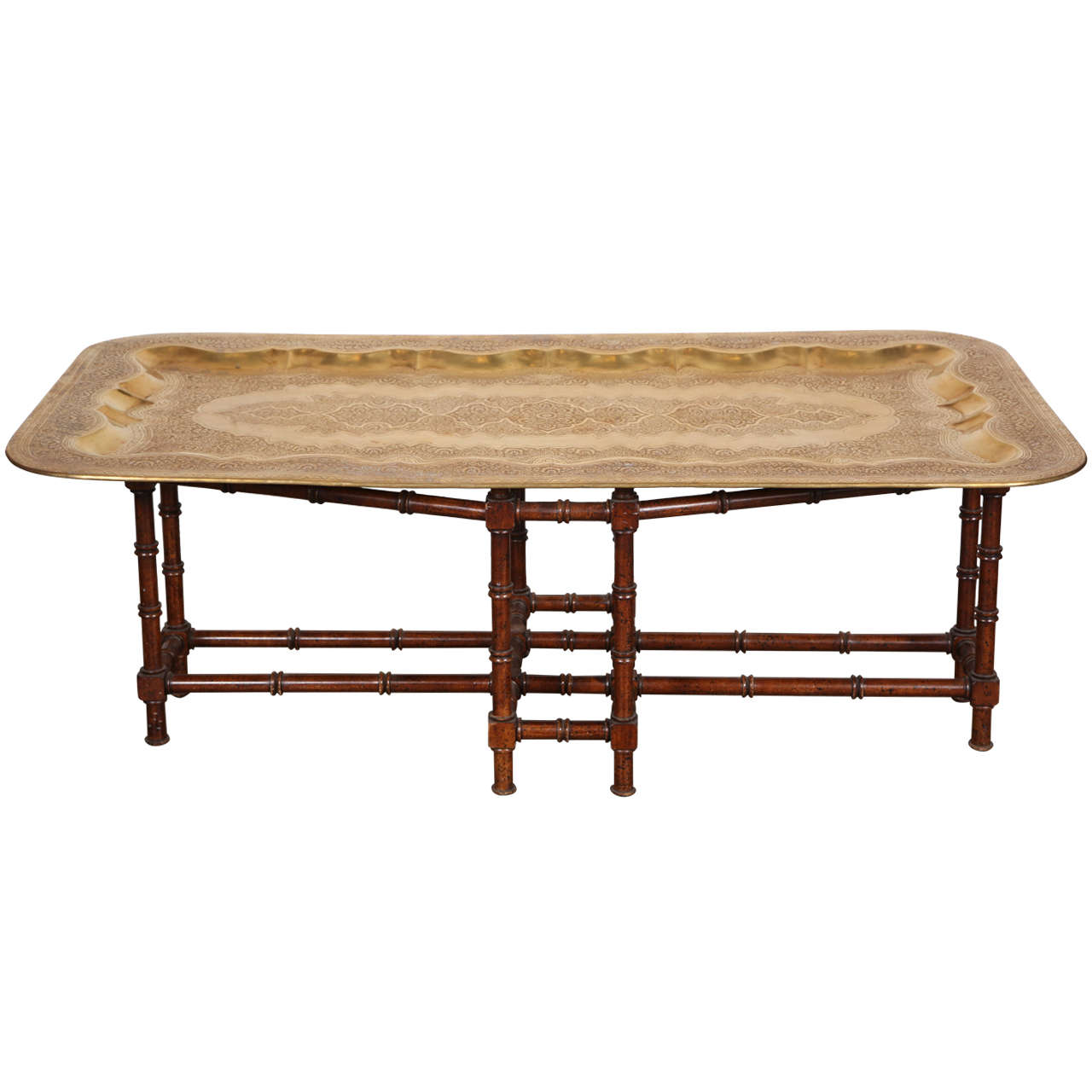 Mid-Century Rectangular Brass Tray Coffee Table At 1stdibs