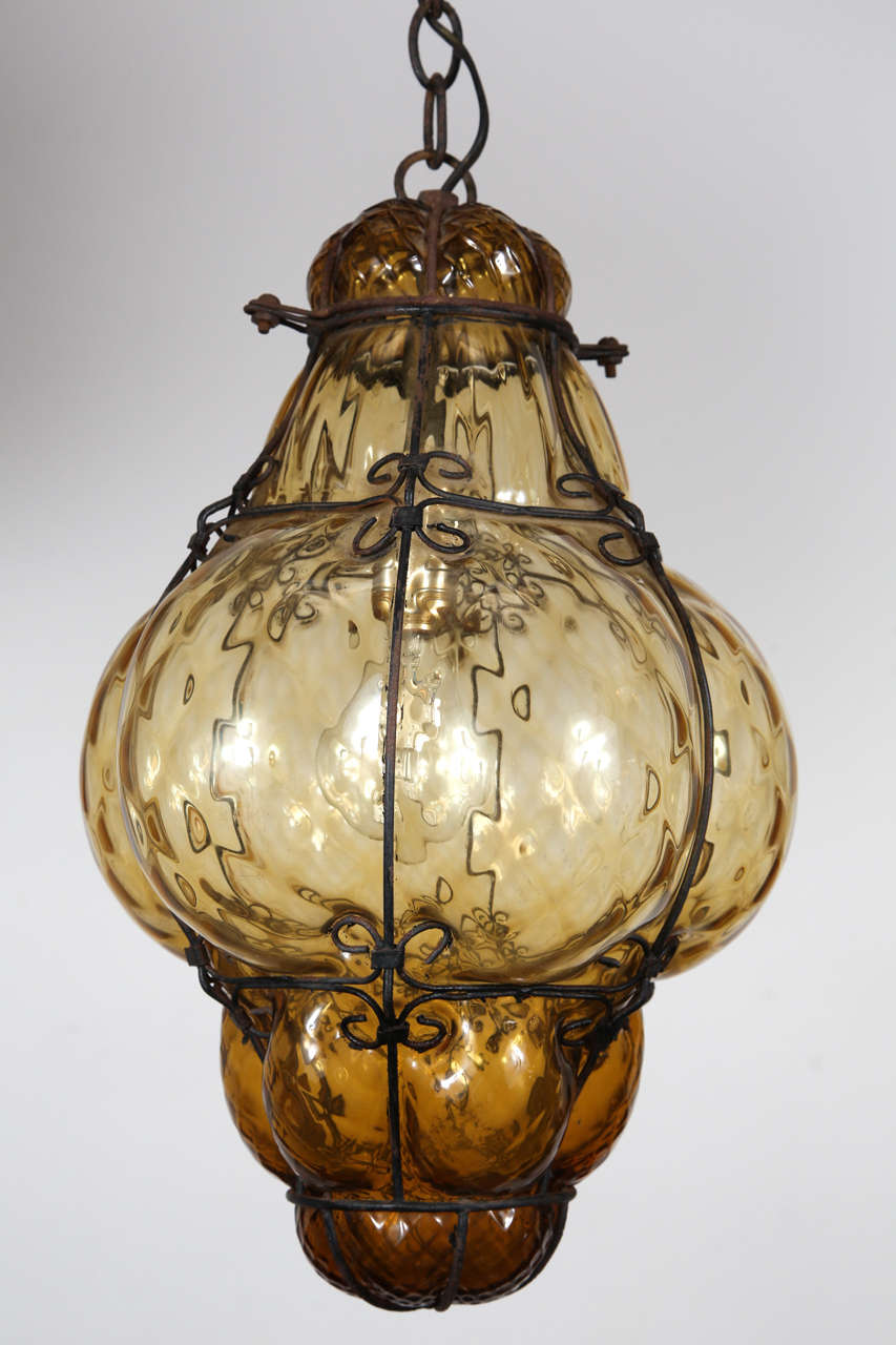 stylist asian ceiling light fixtures. Gorgeous vintage Seguso Murano bubble wire wrapped amber glass cage pendant  light Glass is hand Vintage Hand blown Amber Cage Pendant Light at