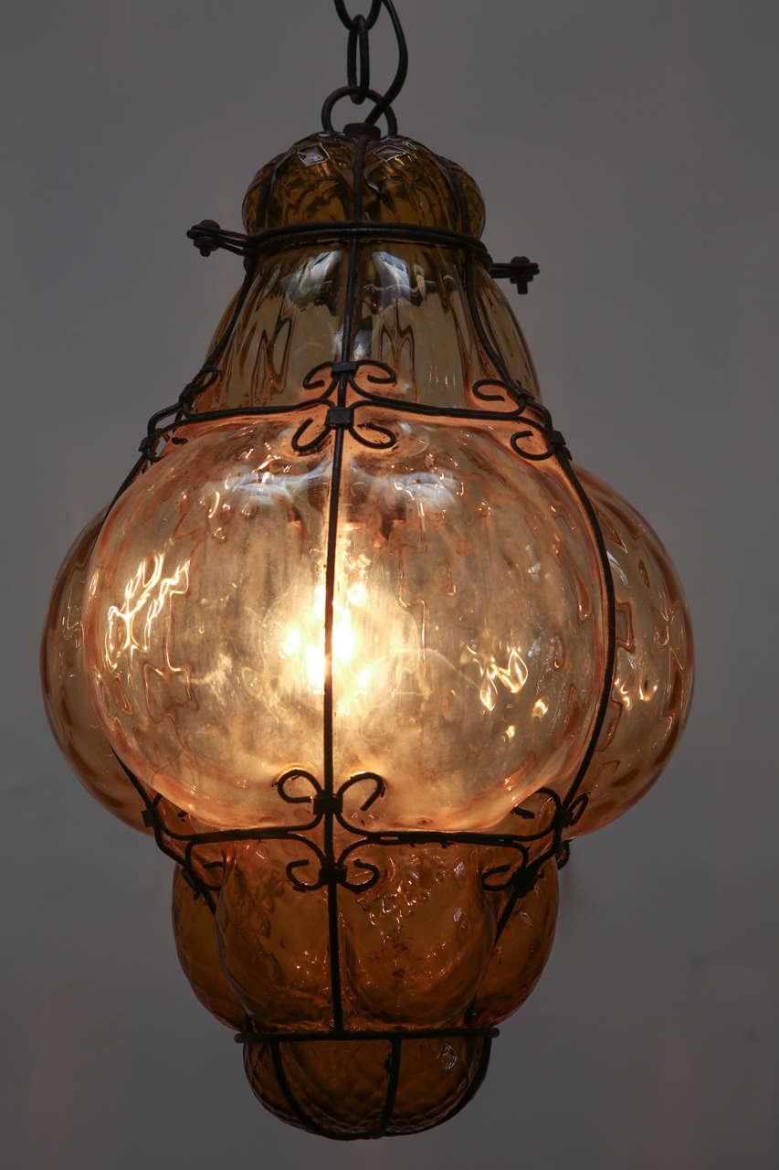 Vintage hand blown seguso murano amber glass cage pendant light at 1stdibs - Murano glass lighting ...