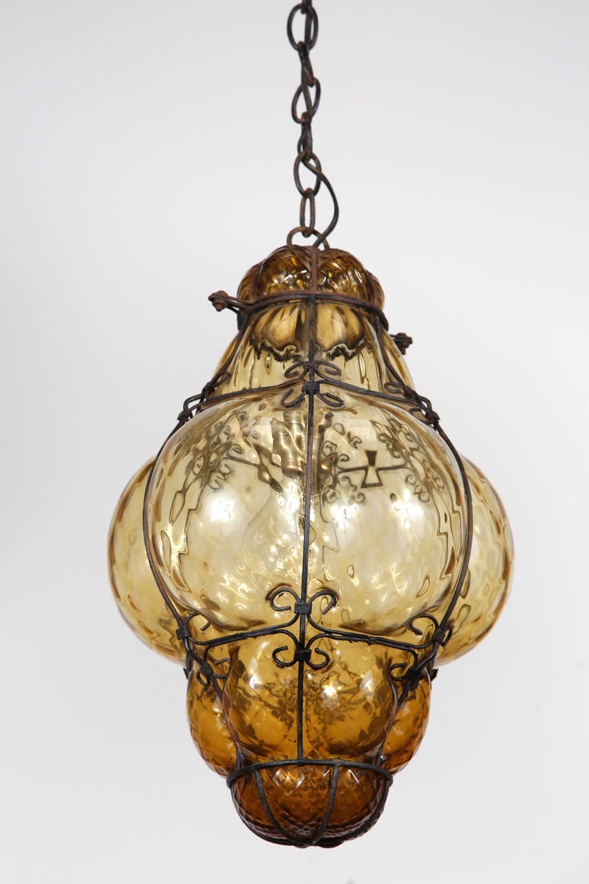 vintage hand blown seguso murano amber glass cage pendant light image