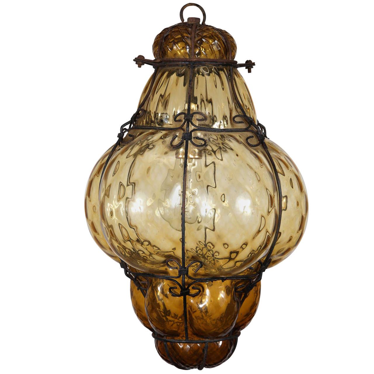 Vintage Handblown Seguso Murano Amber Glass Cage Pendant Light at