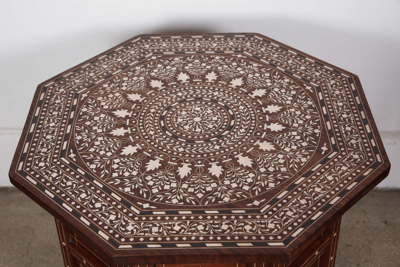 Anglo Indian Folding Rosewood Ivory Inlaid Octagonal Side Table. 3