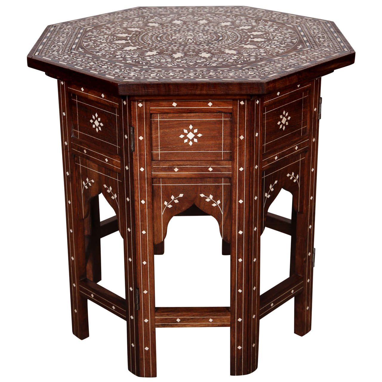 Anglo Indian Folding Rosewood Ivory Inlaid Octagonal Side Table. 1