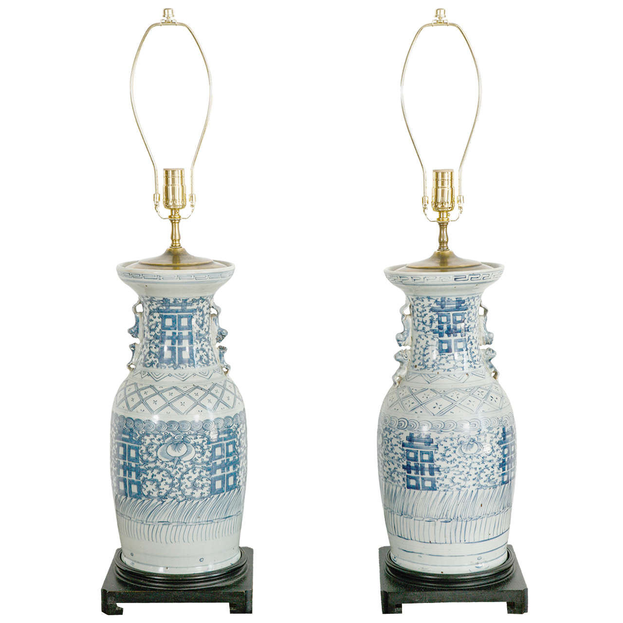 Pair Of Chinese Blue And White Porcelain Table Lamps For Sale