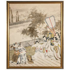 Pre-War Japanese Painting in Gold Frame | Men