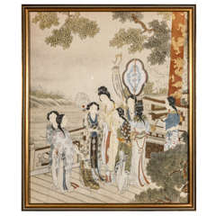 Pre-War Japanese Painting in Gold Frame | Women