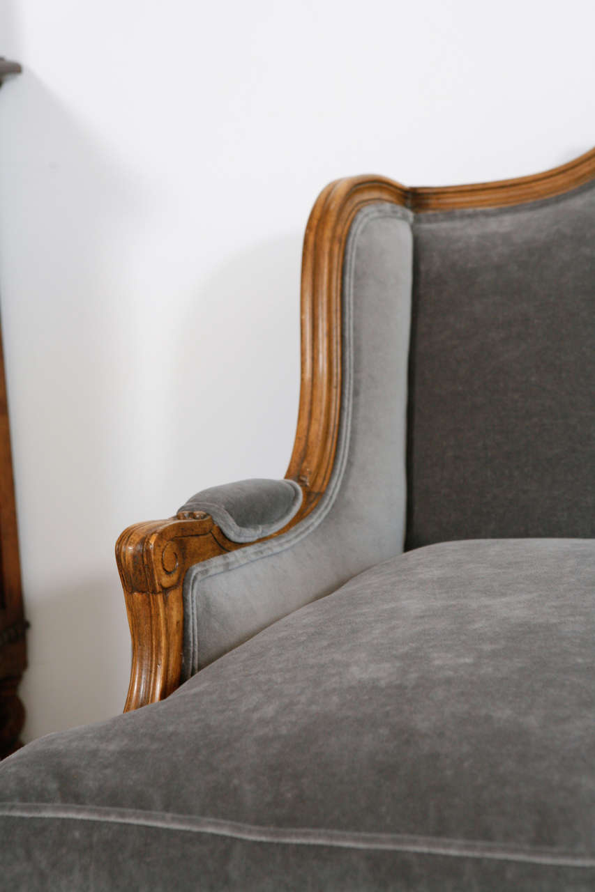 louis xv style settee canape in grey velvet at 1stdibs