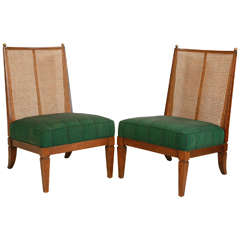 Pair of Cane Slipper Chairs in Green African Fabric