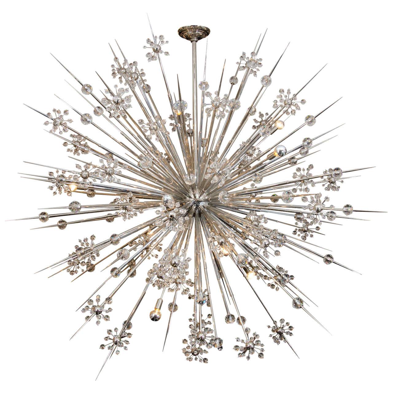 Huge Custom Crystal Starburst Sputnik Chandelier At 1stdibs