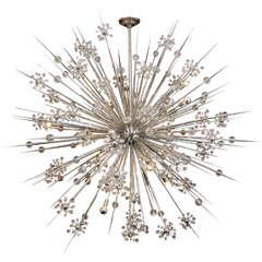 Huge Custom Crystal Starburst Sputnik Chandelier