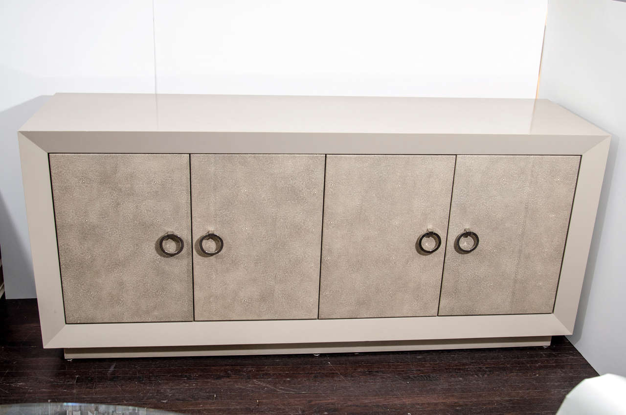 Modern Custom Lacquered Sideboard with Faux Shagreen Doors For Sale