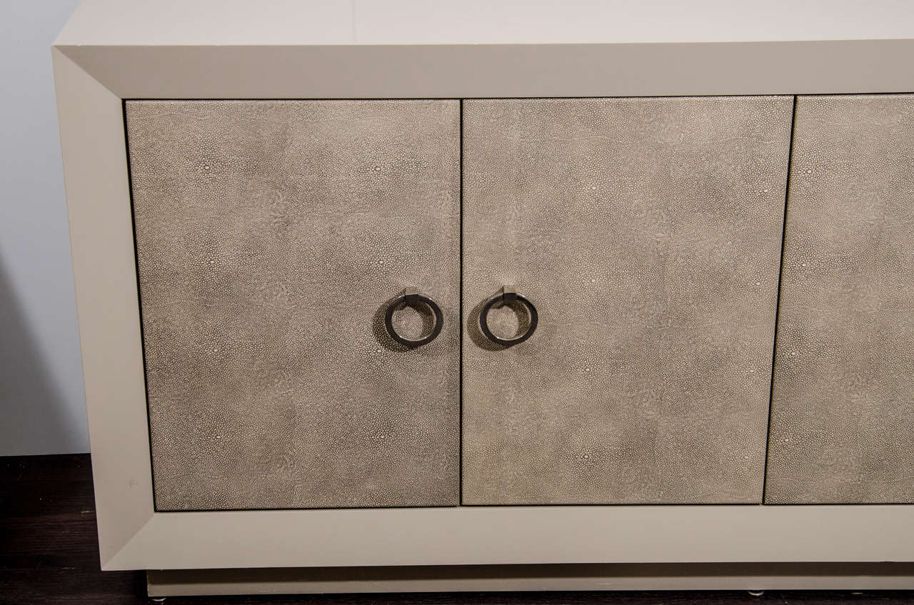 American Custom Lacquered Sideboard with Faux Shagreen Doors For Sale
