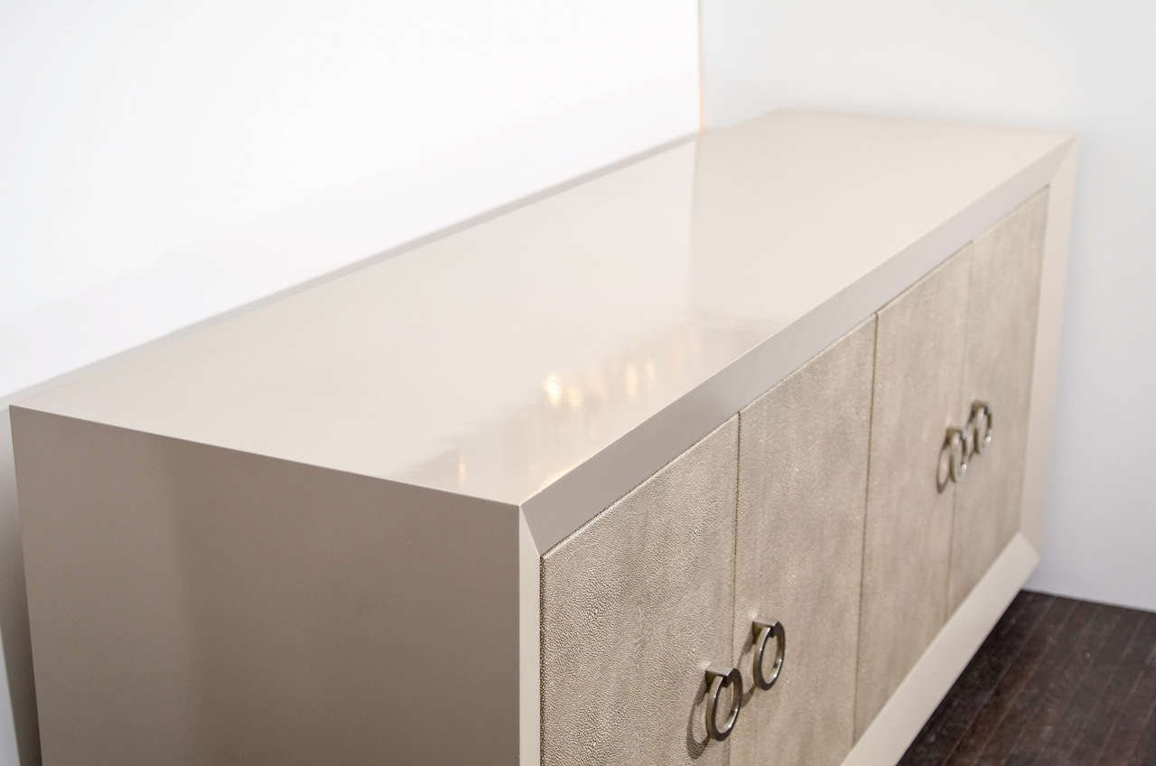Custom lacquered sideboard with faux shagreen doors in mushroom color. Customization available in different sizes, colors and hardware.