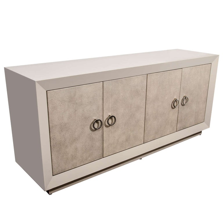 Custom Lacquered Sideboard with Faux Shagreen Doors For Sale