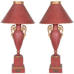 Pair of 19th-Century Metal Louis-Philippe Lamps with Original Matching Shades