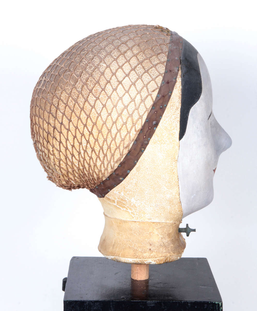 Leather 19th Century French Wig Stand by Louis Danjard For Sale