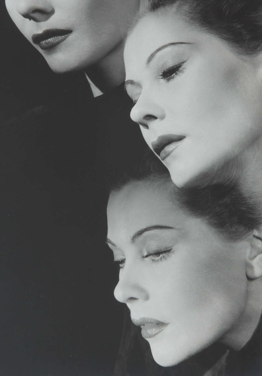 This photograph by George Platt Lynes is unusual for having three exposures of the Russian princess Natalie Paley, the celebrated beauty, and the wife of Paris couturier Lucien Lelong. It bears the photographer's blind stamp on the lower-left