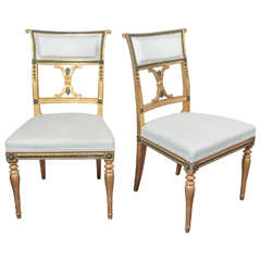 Pair of Swedish Gustavian Chairs by Melchior Lundberg